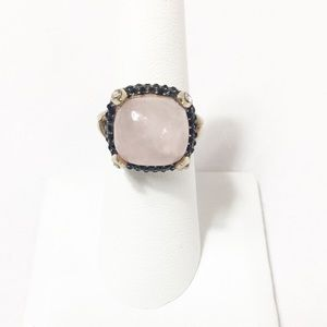 ROSE QUARTZ AND BLACK SPINEL RING